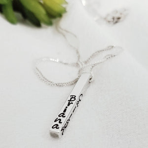 Four Sided Name Bar Necklace - Sterling Silver