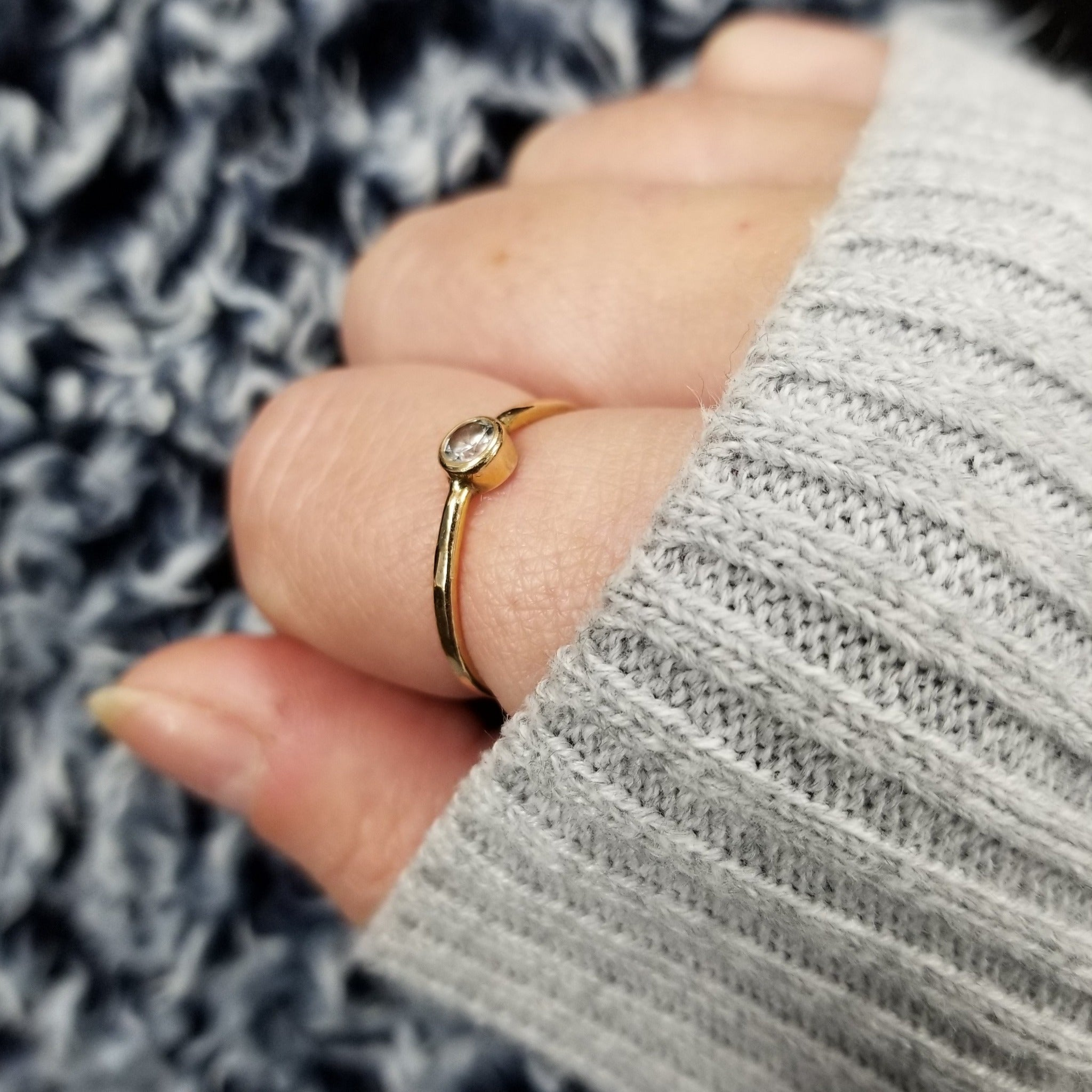 Mini Diamond CZ Stacking Ring  - Sterling, Gold or Rose Gold