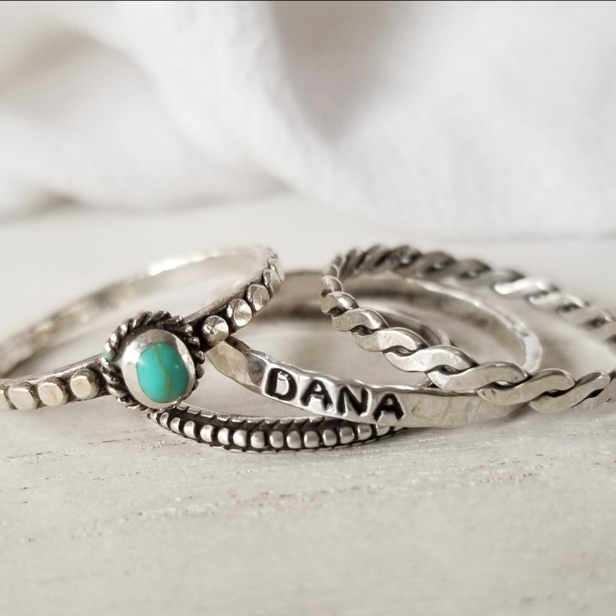 4pc Stacking Name and Turquoise Ring Set - Sterling Silver