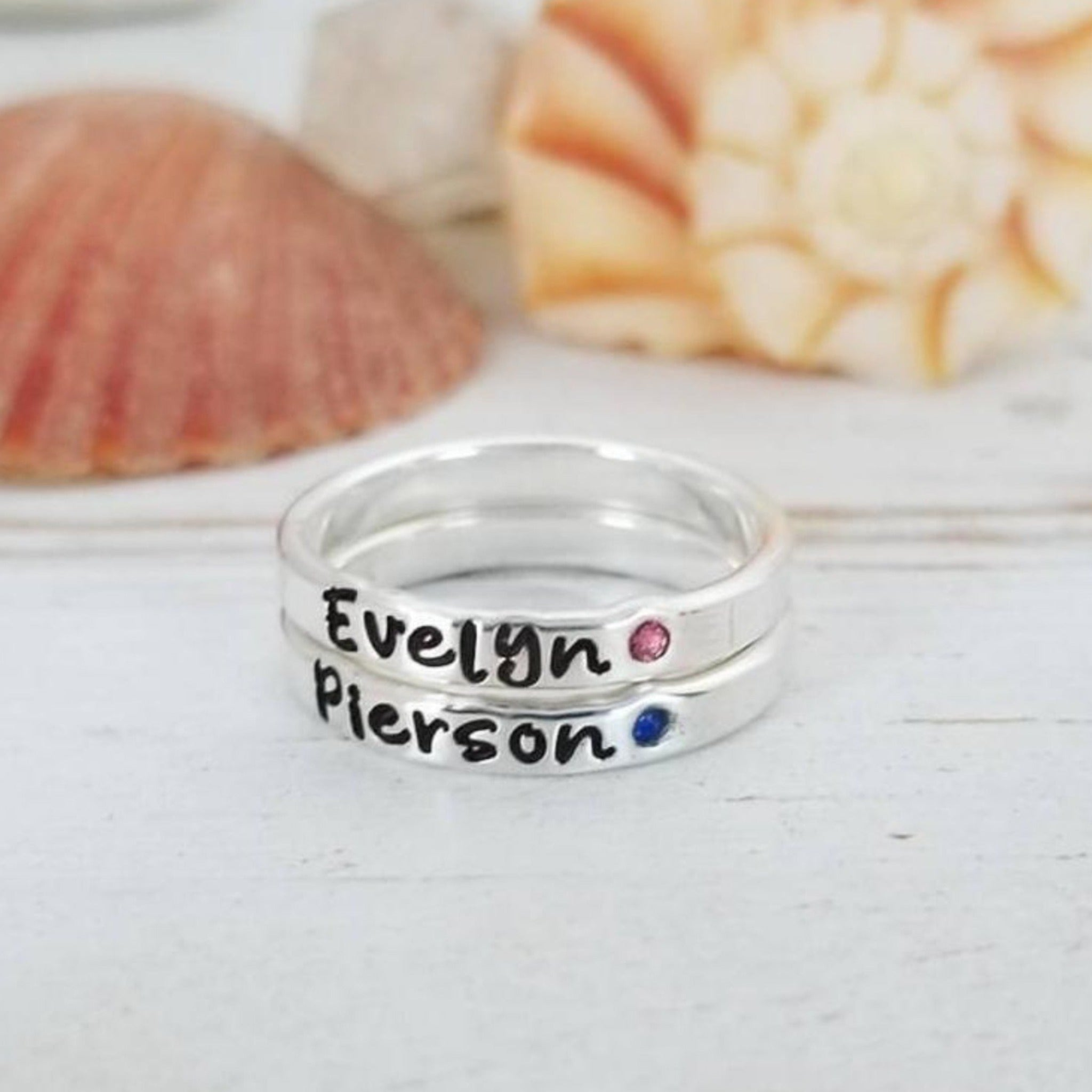 3mm Wide Name and Birthstone Ring - Sterling Silver