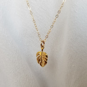 Dainty Palm Leaf Necklace - Gold