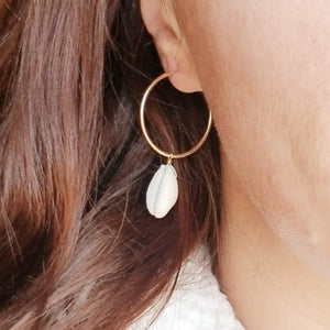 Shell Eternity Hoop Earrings - Sterling or Gold