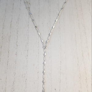 Lariat Sequin Necklace - Y Necklace - Sterling Silver