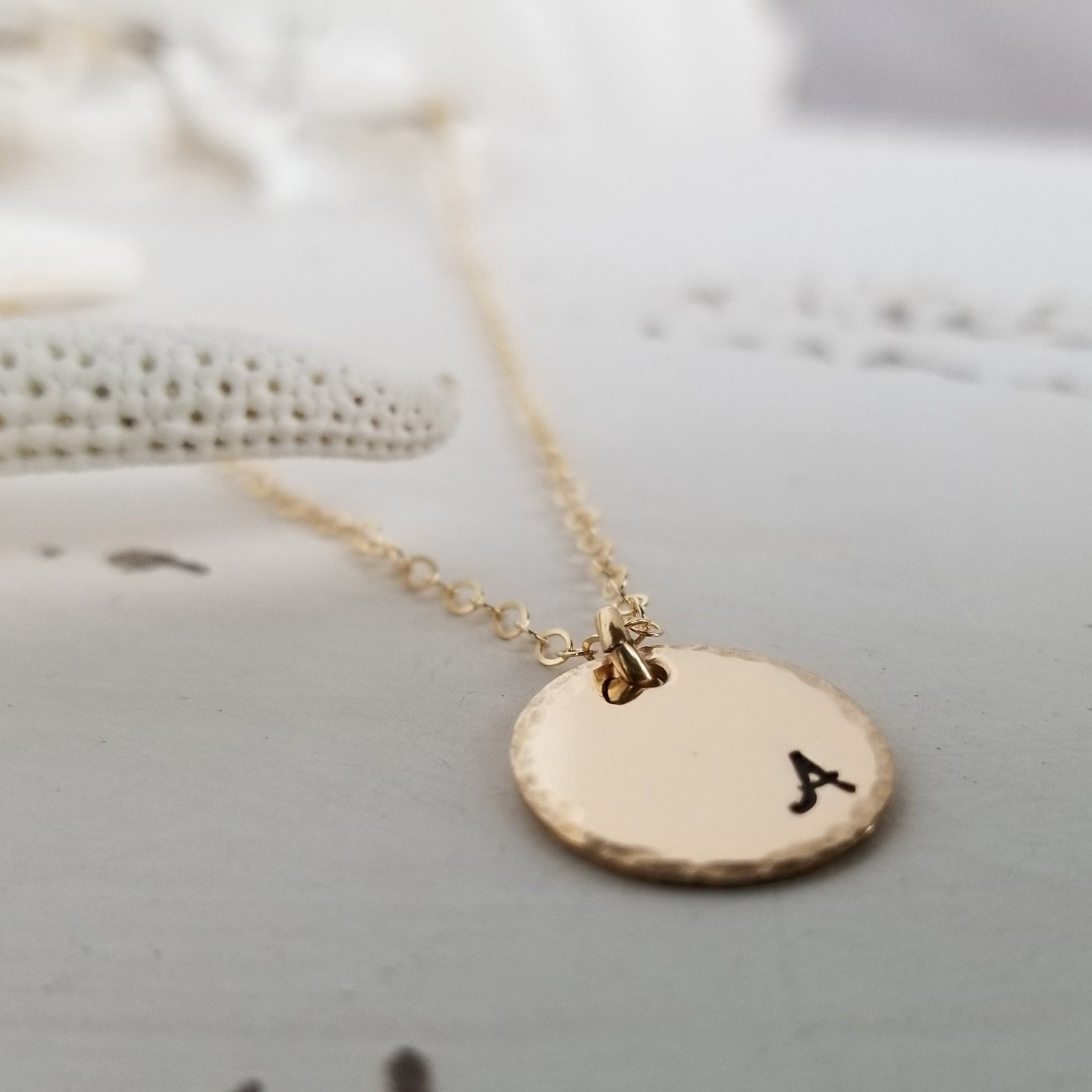 Custom Small Initial Necklace - 1/2 Inch - Sterling, Gold or Rose Gold