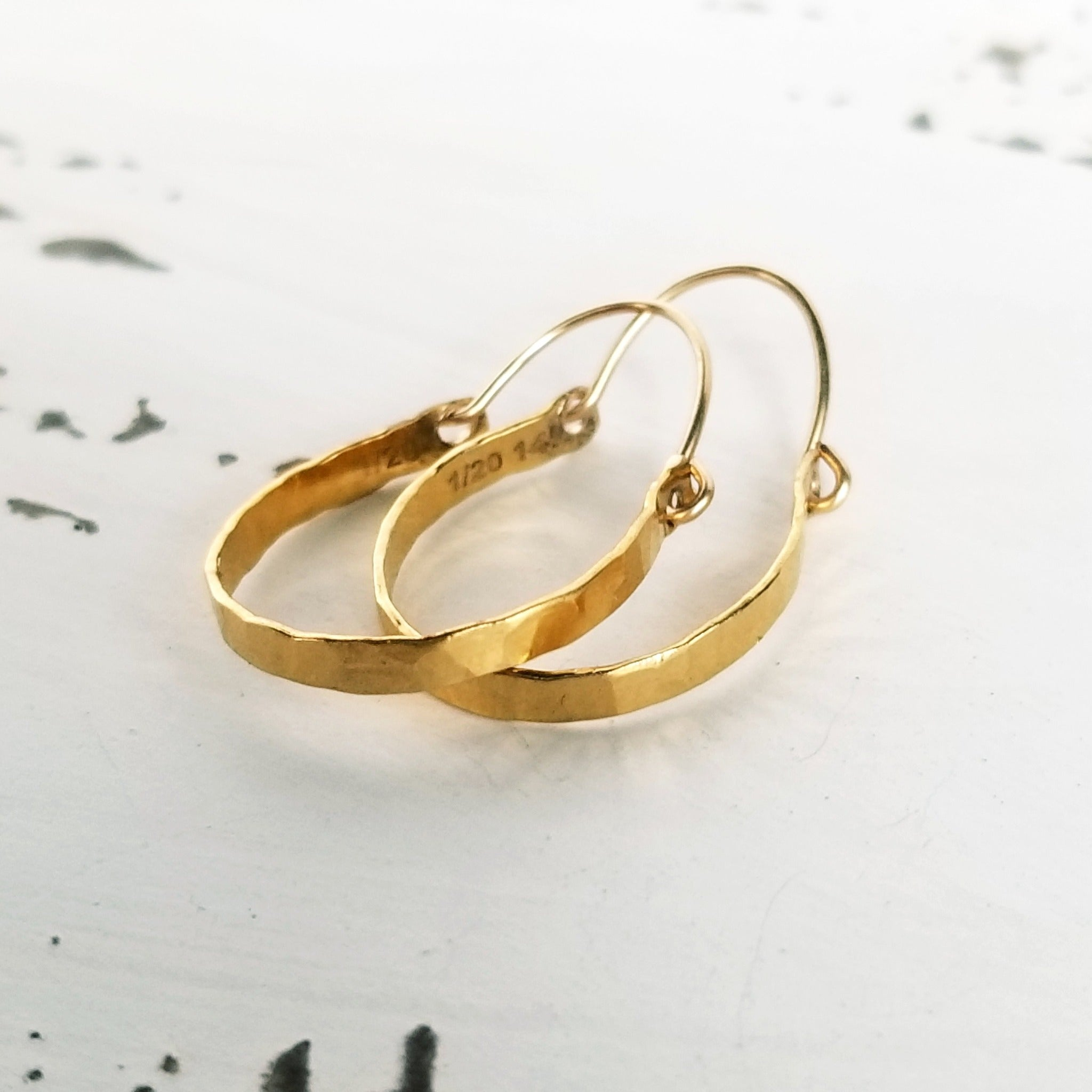Hand Carved Drop Hoop Earrings - Sterling or Gold