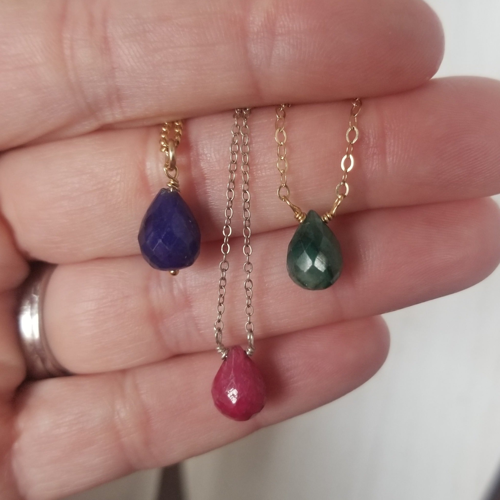 Ruby, Sapphire or Emerald Crystal Birthstone Necklace - Sterling or Gold