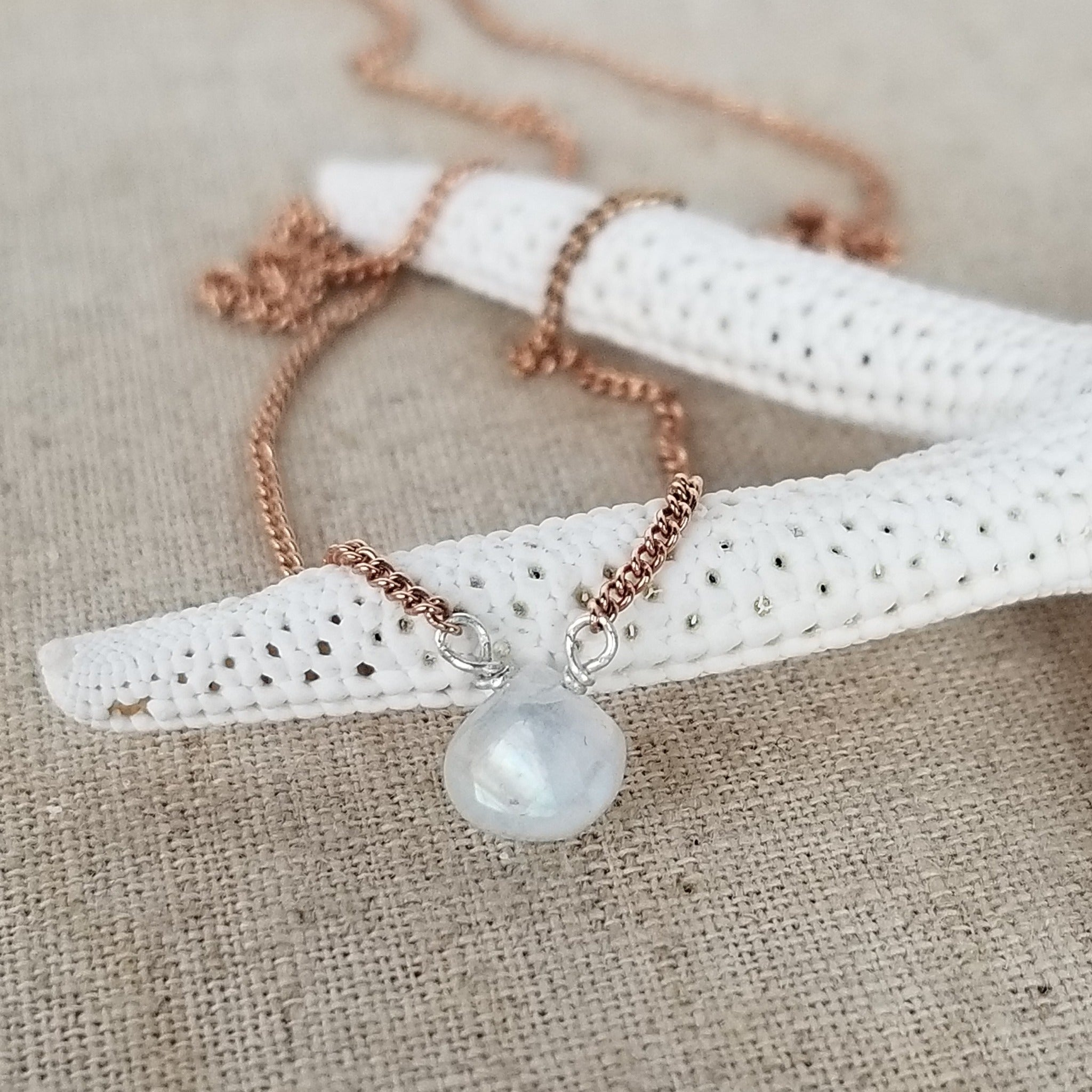 Natural Moonstone Necklace - Sterling or Gold