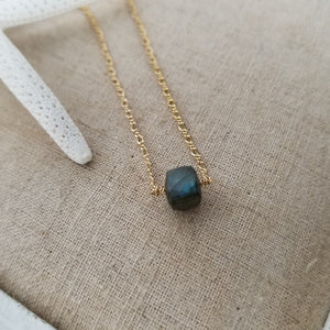 Natural Labradorite Necklace - Sterling or Gold
