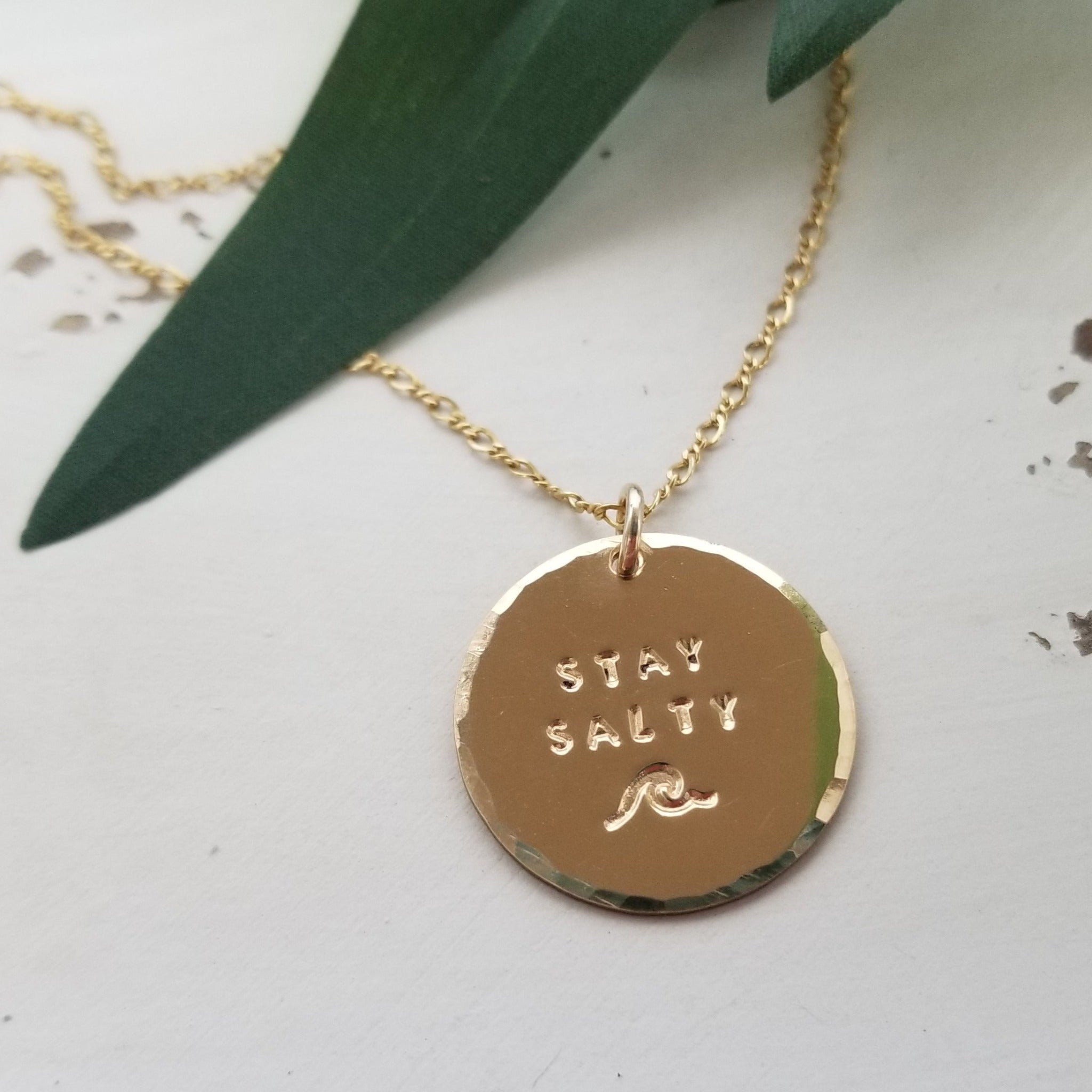 Stay Salty Beach Wave Large Disc Necklace - Sterling, Gold or Rose Gold