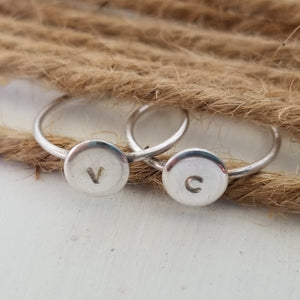 Dainty Initial Dot Ring - Sterling, Gold, or Rose Gold