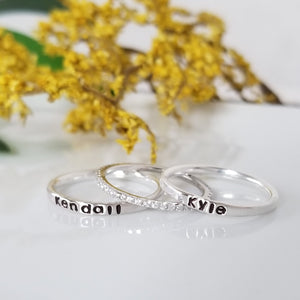 3pc Thin Name Ring and CZ Stacking Set - Sterling Silver