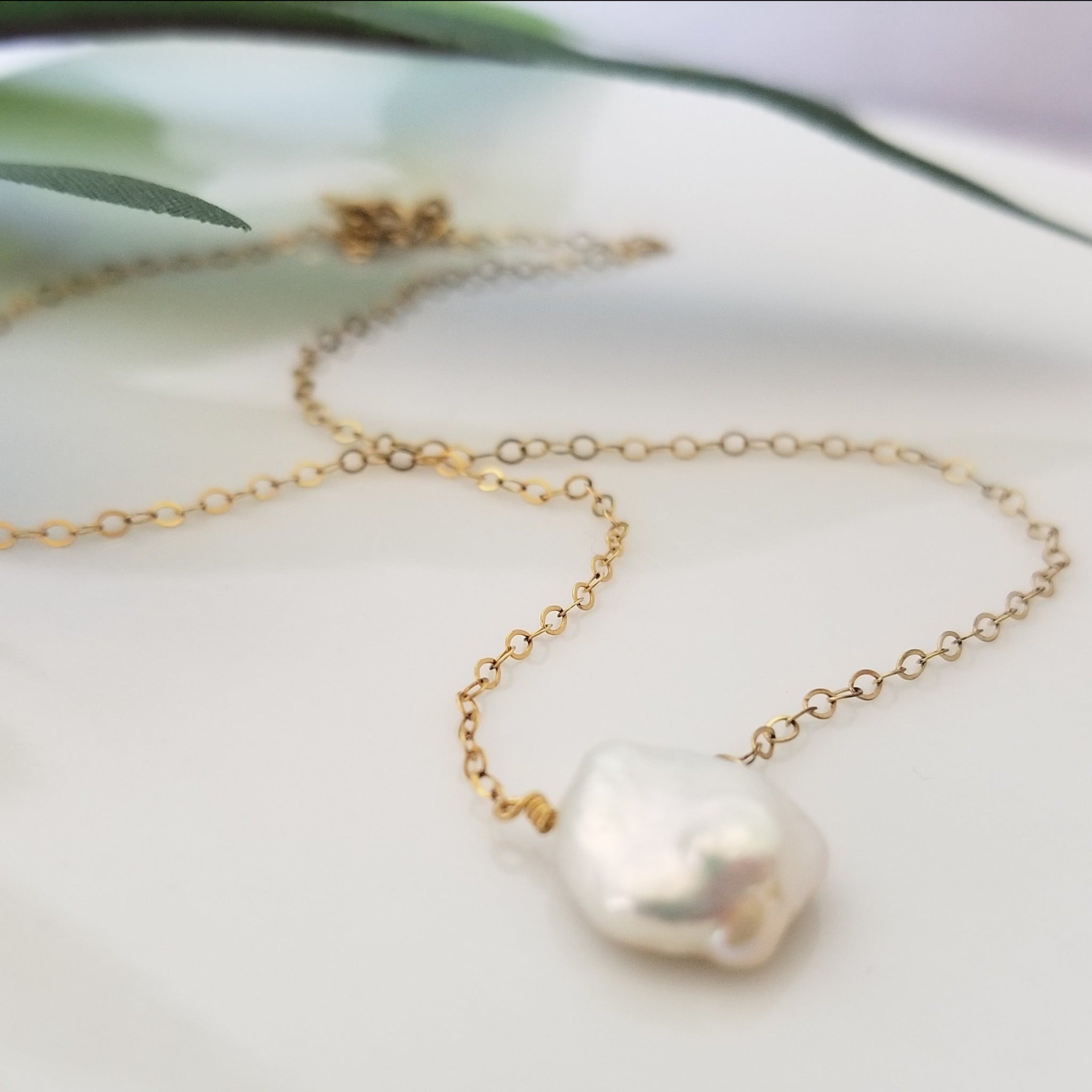 Raw Freshwater Pearl Necklace - Sterling or Gold