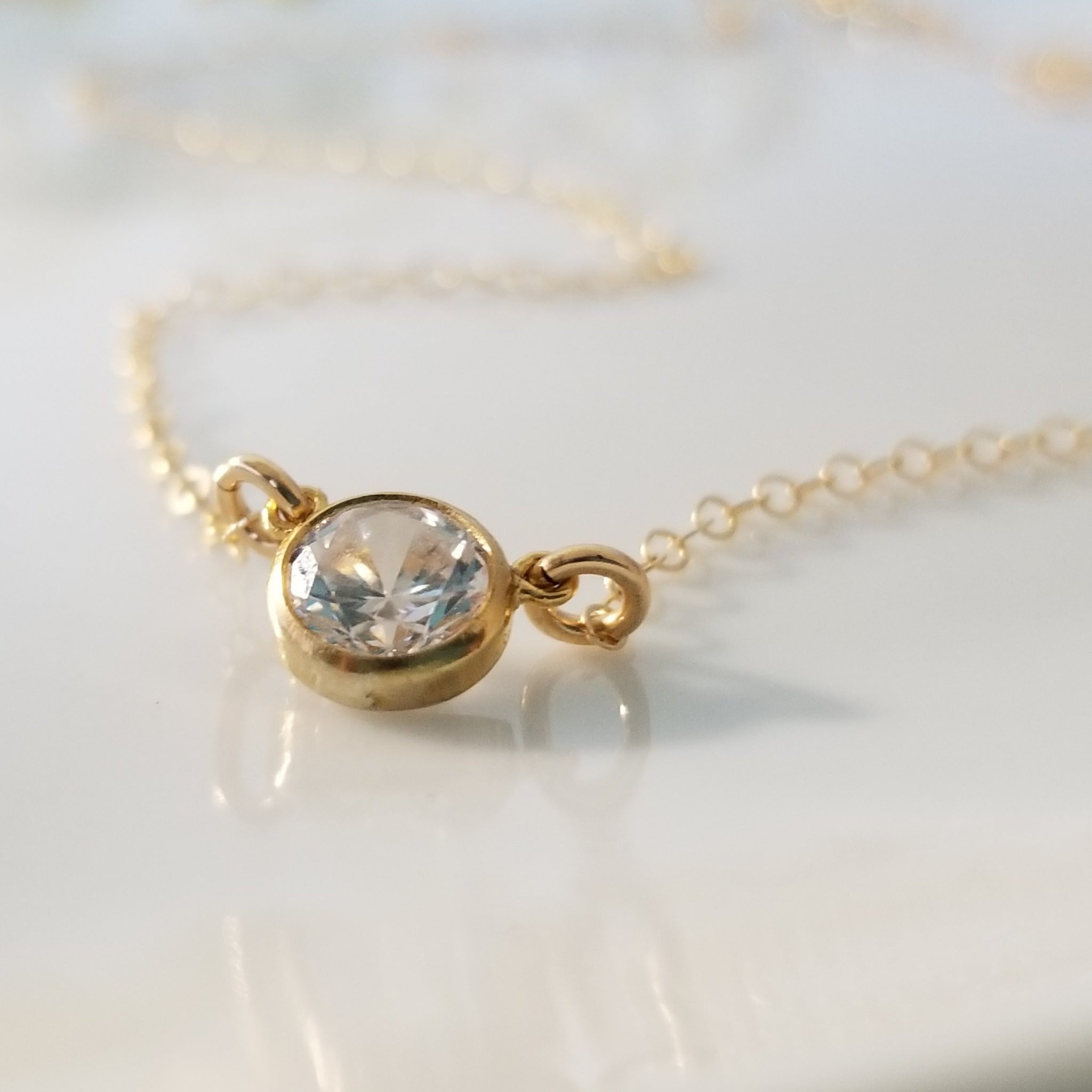 CZ Diamond Drop Necklace - Sterling or Gold