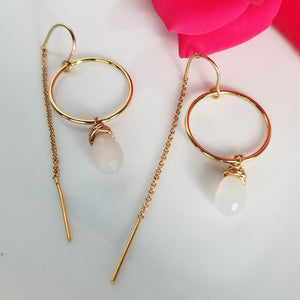 Crystal Threader Hoop Earrings - Sterling or Gold