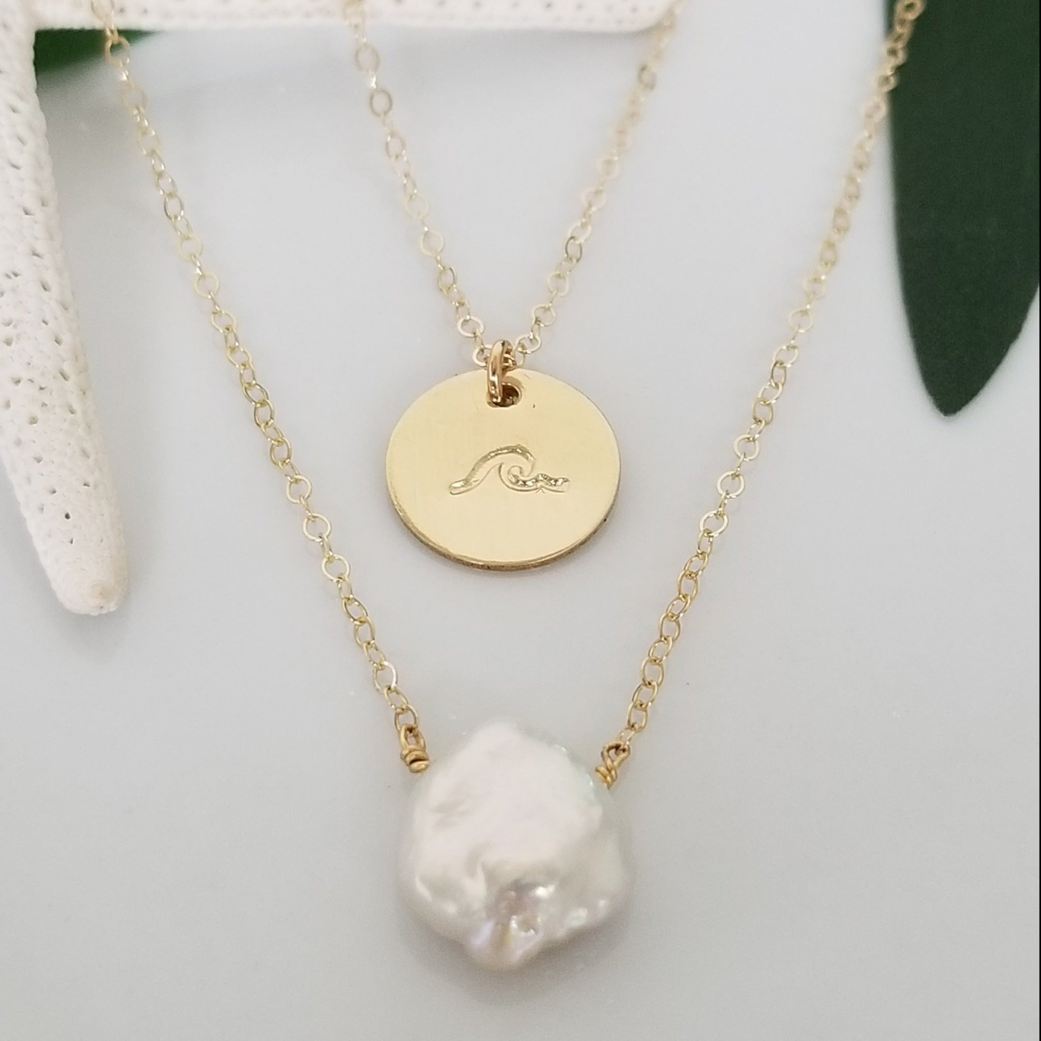 "The ""Haley"" Set - Raw Pearl and Initial Necklace Set - Sterling, Gold, or Rose Gold"