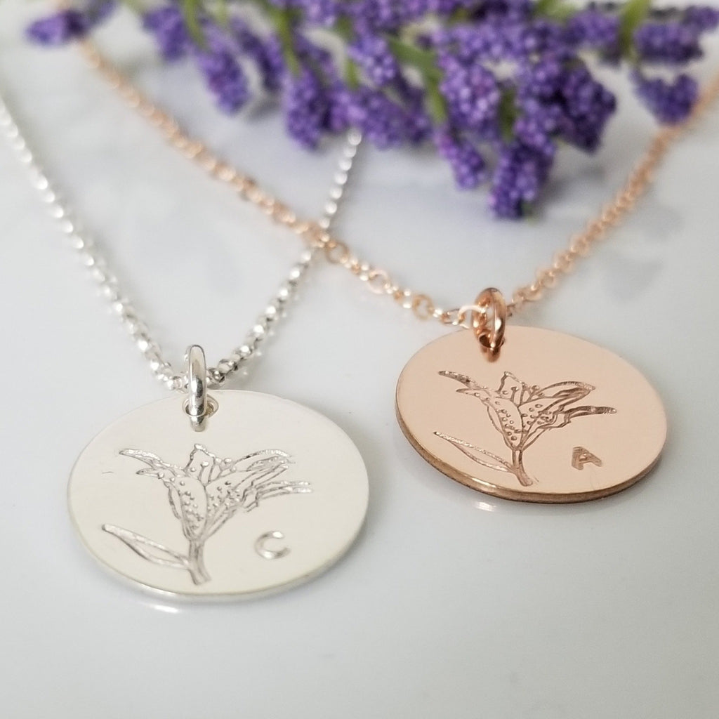 Lily Flower Initial Necklace - Sterling, Gold, or Rose Gold
