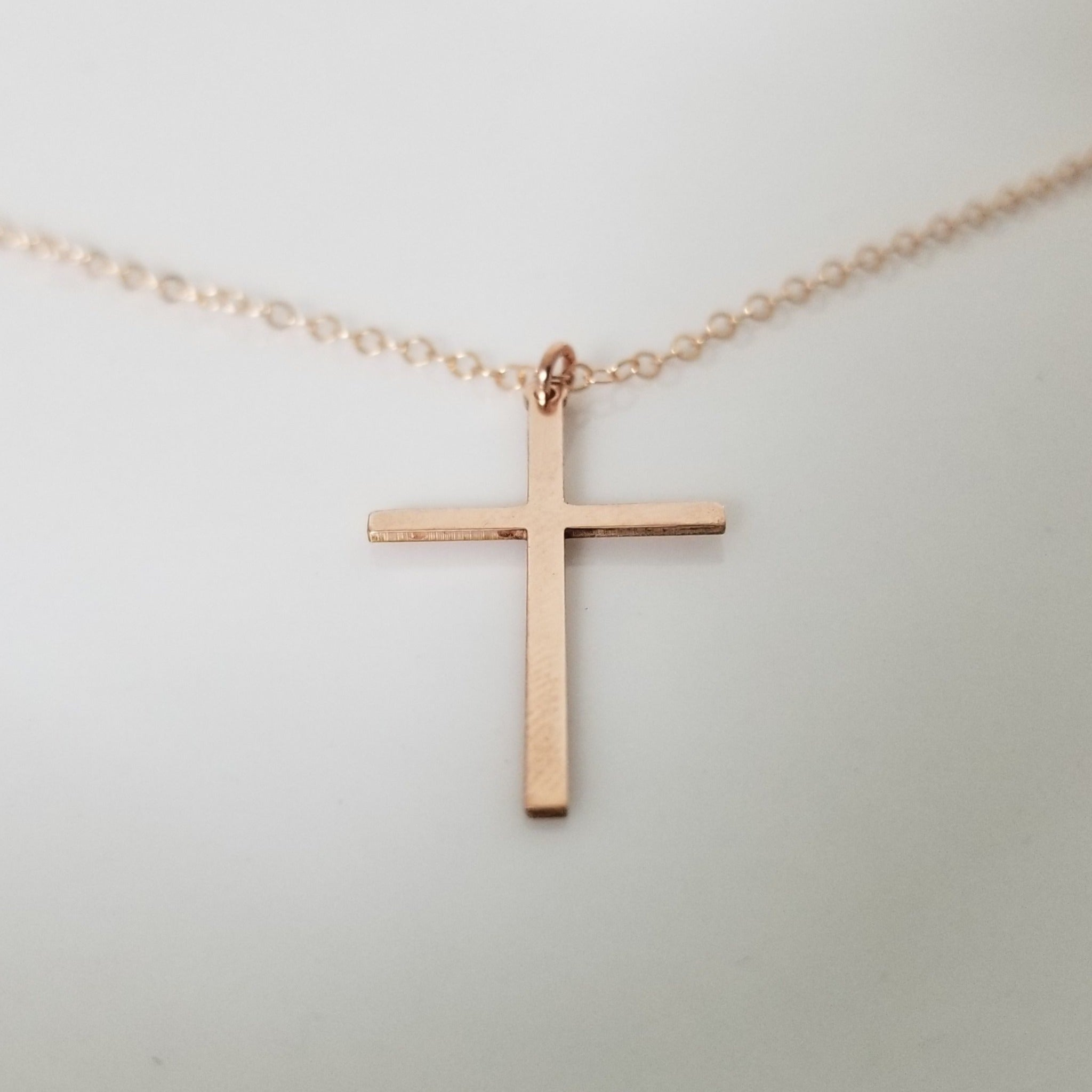 Long Sleek Cross Necklace - Gold or Rose Gold