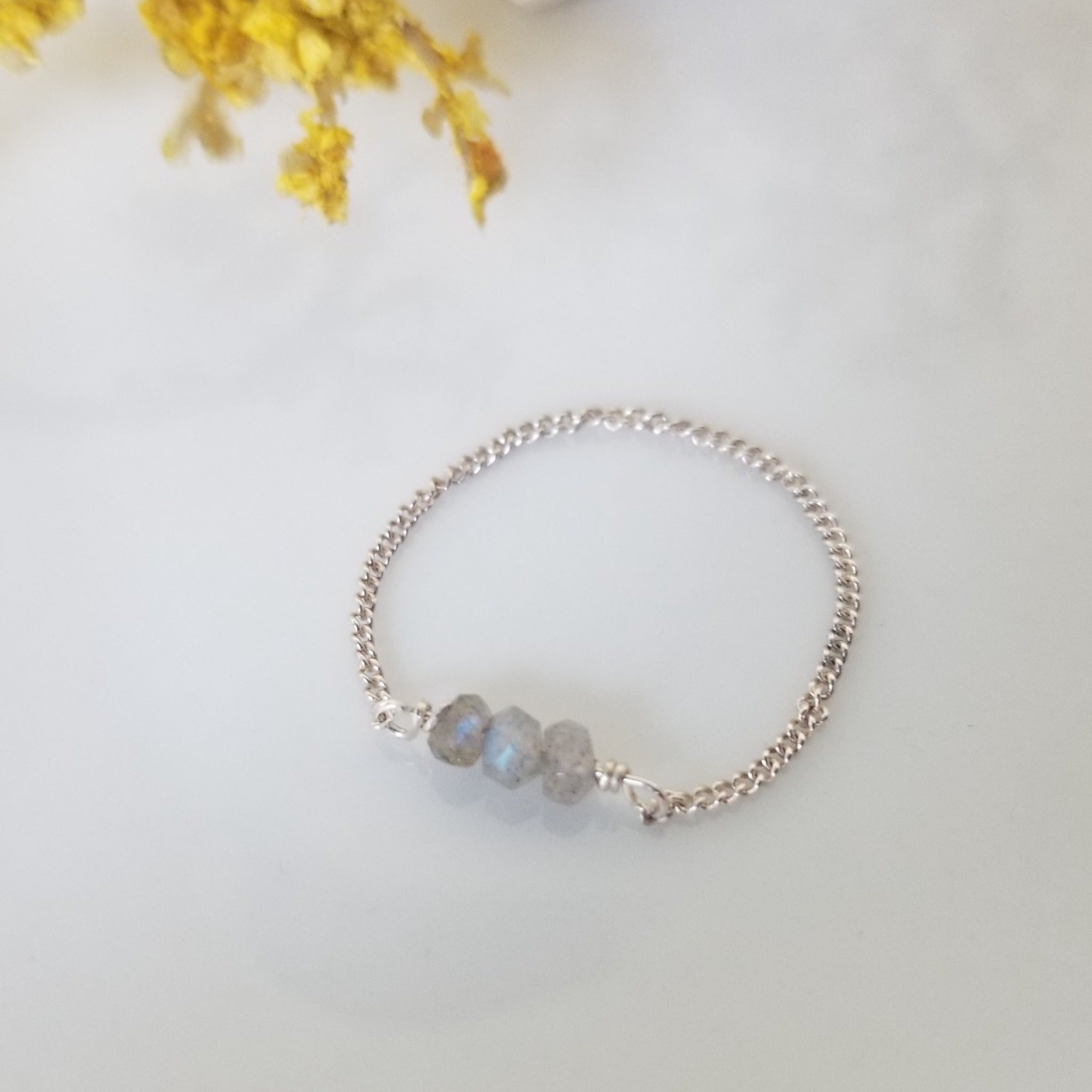 Dainty Natural Stone Chain Ring - Sterling, Gold or Rose Gold