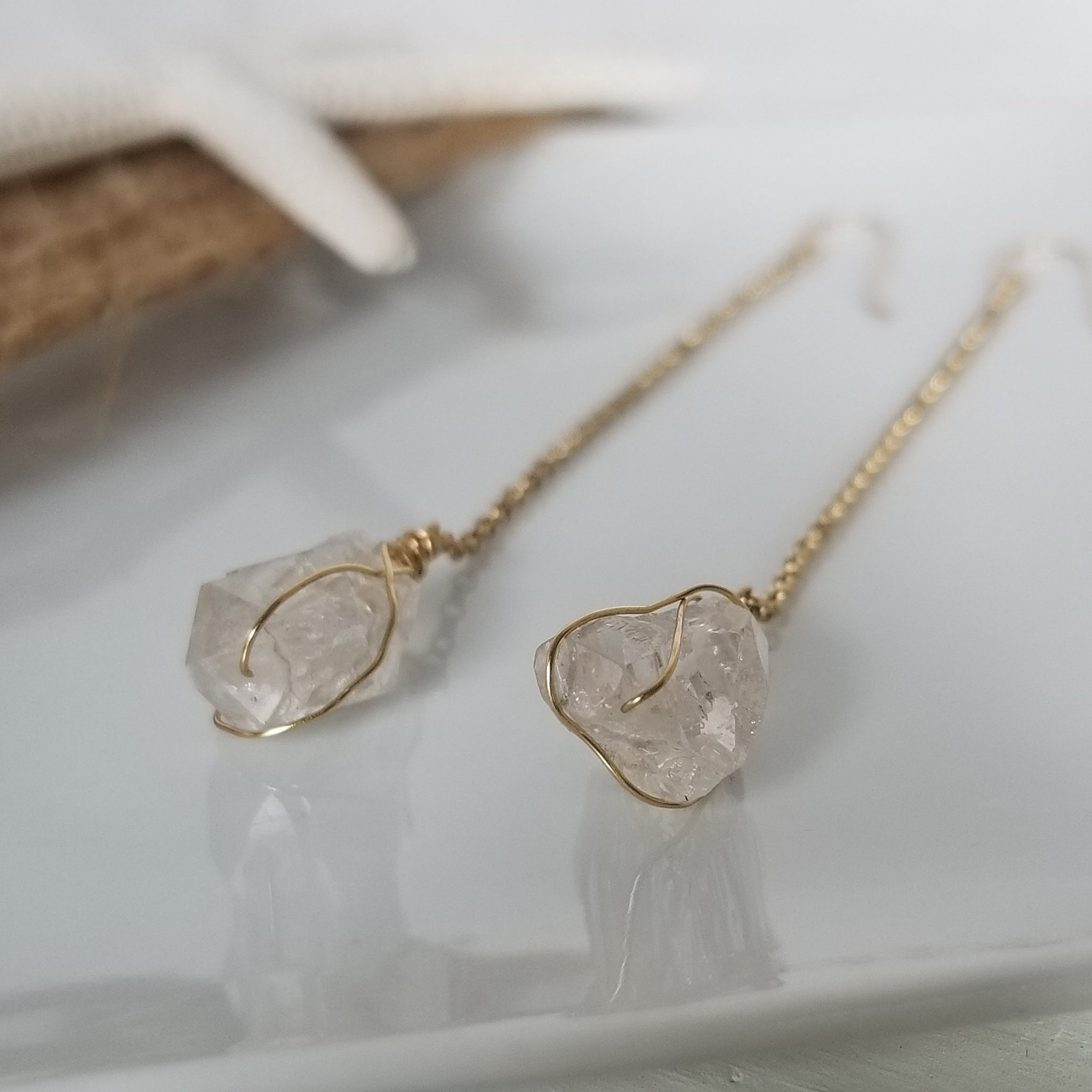 Herkimer Diamond and Chain Earrings - Sterling or Gold