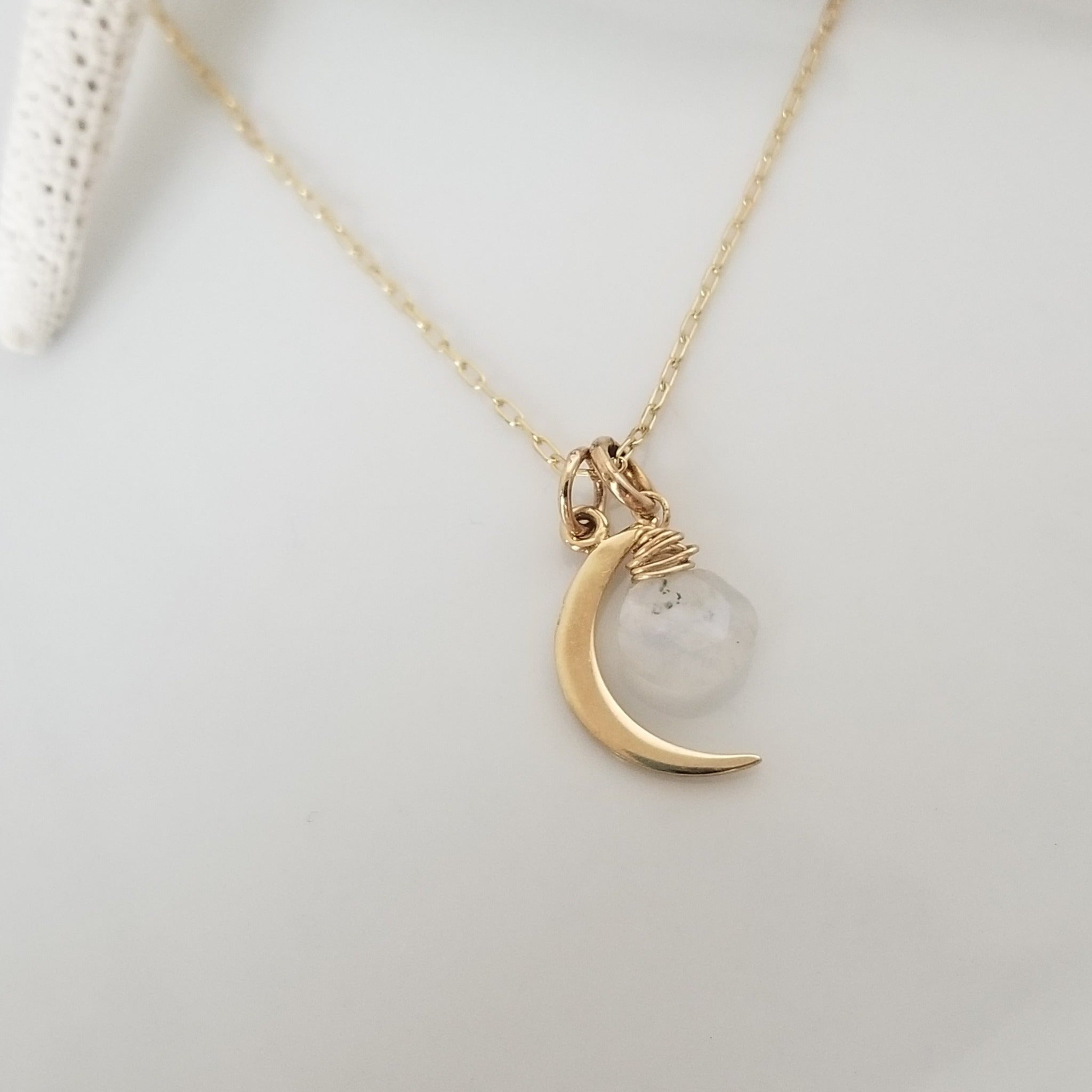 "The ""Lonnie"" - Crescent and Moonstone Necklace - Sterling or Gold"