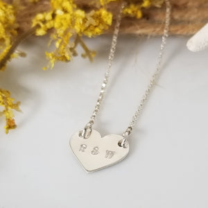 Dainty Solid Heart Initials Necklace - Sterling, Gold, or Rose Gold