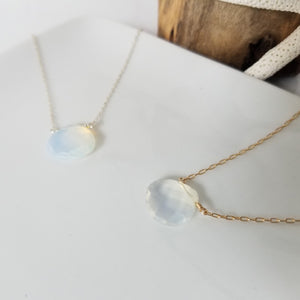 "The ""Shannon"" - Natural Chalcedony Crystal Necklace - Sterling or Gold"