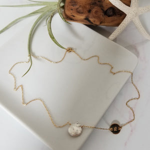 "The ""Amy"" - Raw Freshwater Pearl and Initial Necklace - Sterling or Gold"