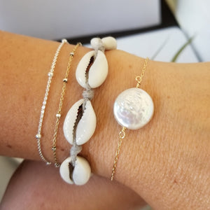 Herkimer Diamond or Raw Pearl Bracelet - Sterling Silver or Gold