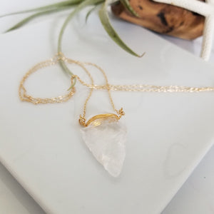 "The ""Steph"" - Crystal Quartz Arrowhead Necklace - Sterling or Gold"