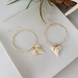 Drop Hoop Shark Tooth Charm Earrings - Sterling or Gold