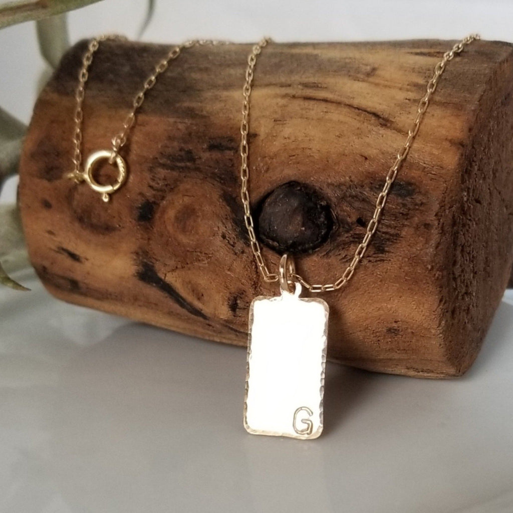 Custom Rectangle Name Disc Necklace - Gold