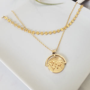 "The ""Aleecia"" - Globe World Traveler Coin Disc Necklace - Sterling or Gold"