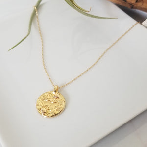 Leafy Coin Disc Layering Necklace - Gold
