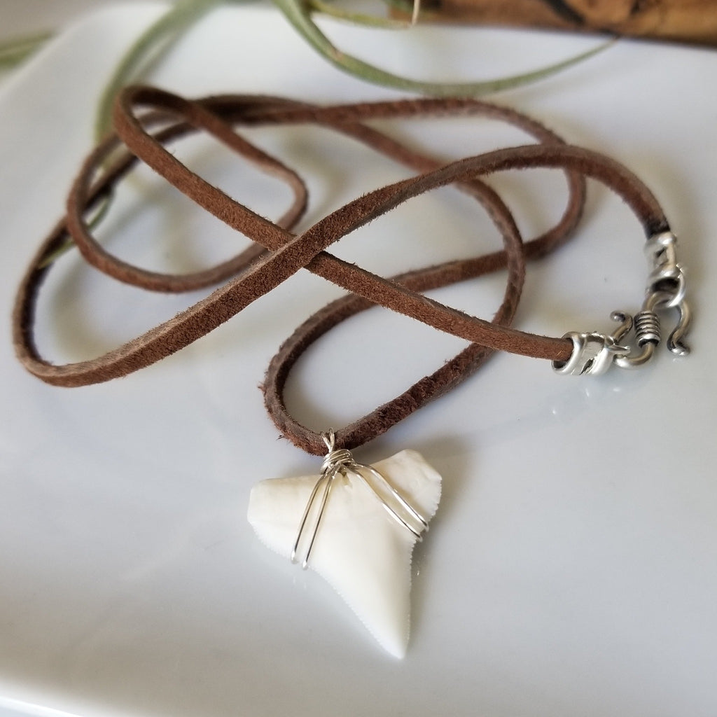 Men's Real Shark Tooth Leather or Sterling Necklace