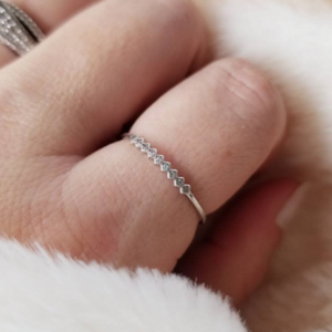 Tiny CZ Diamond Shape Stacking Ring - Sterling Silver