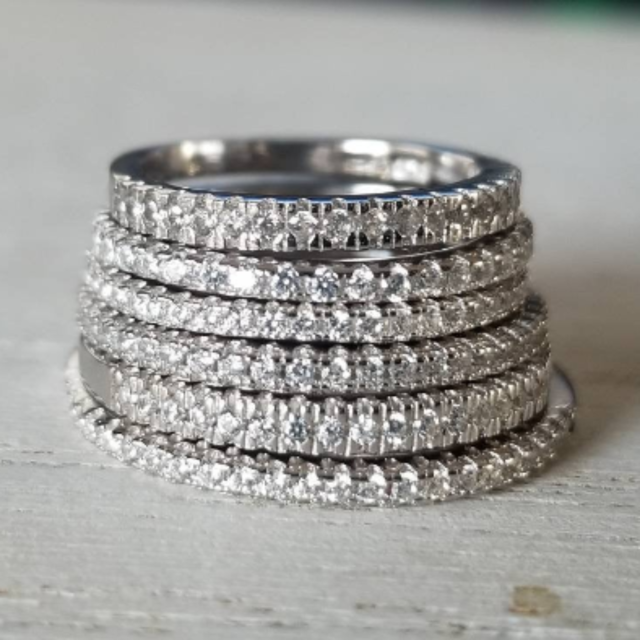 Sterling Silver CZ Eternity or Pave Band