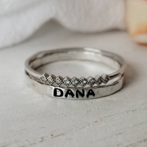 2pc Thin Name Ring and Tiara CZ Set - Sterling Silver