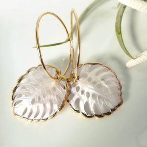 "The ""Kyla"" - Eternity Hoop Monstera Drop Earrings - Gold"