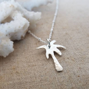 Palm Tree, Pineapple or Whale Tail Disc Necklace - Sterling Silver
