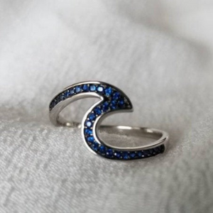 Blue Sapphire Large Wave Ring - Sterling Silver