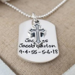 Custom Dog Tag Necklace - Sterling Silver