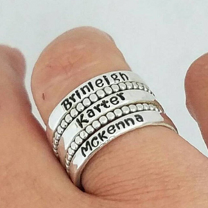 5pc 3mm Custom Name Ring Set - Sterling Silver