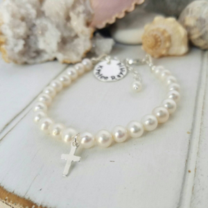 AAA Freshwater Pearl Baby Bracelet with Name Charm - Sterling Silver