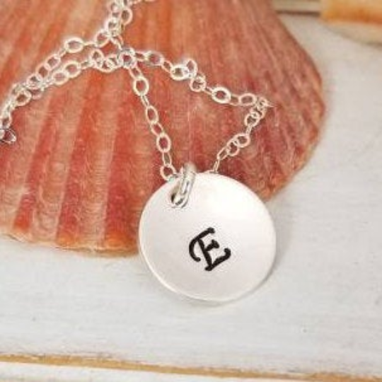 Custom Circle Name Disc Necklace - 1/2 Inch - Sterling, Gold, or Rose Gold