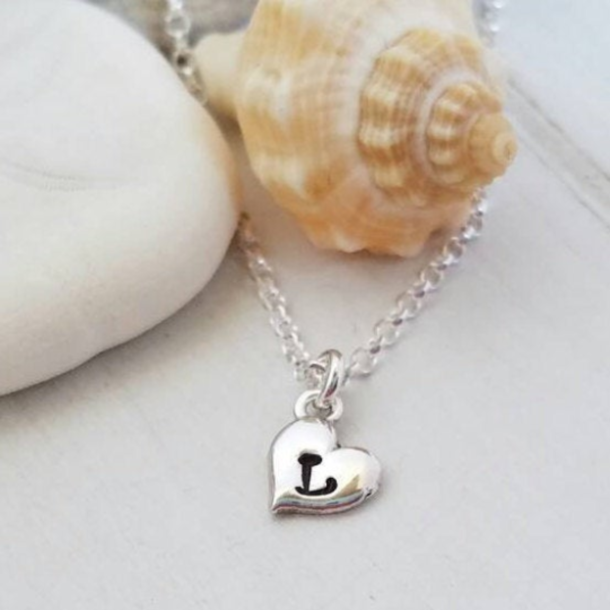 Tiny Heart Initial Necklace