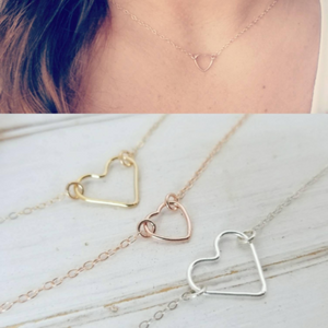 Dainty Open Heart Necklace - Sterling, Gold, or Rose Gold