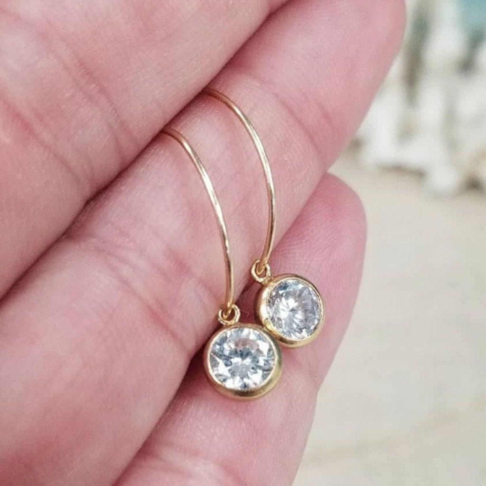 CZ Diamond Drop Hoop Earrings