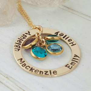 Multi Name and Birthstone Open Circle Necklace - 14kt Gold Fill