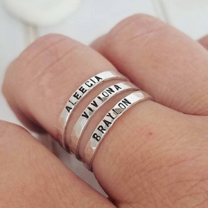2mm Thin Stacking Name Ring - Sterling Silver