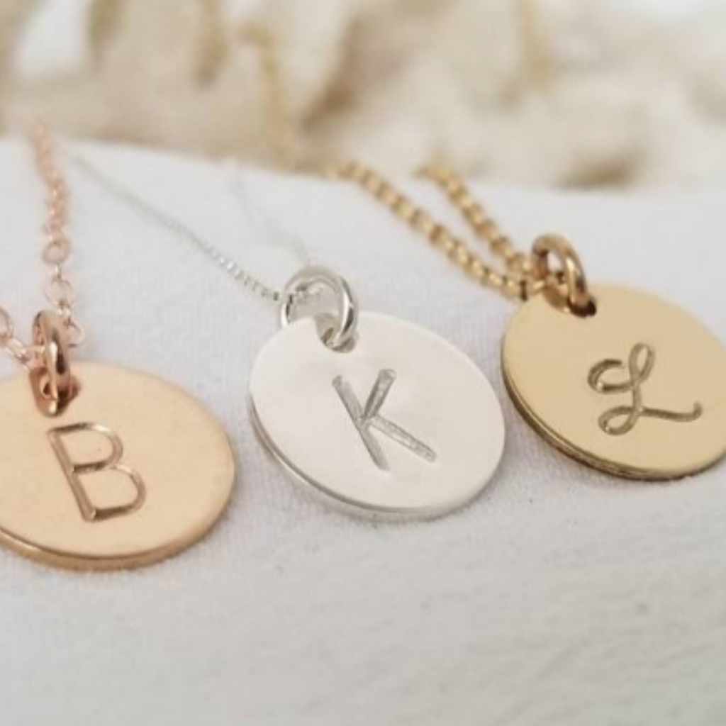 Custom Small Initial Necklace - 1/2 Inch - Sterling, Gold, or Rose Gold